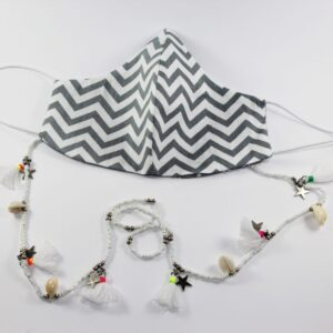 Black and white mask and beads Mask Chain